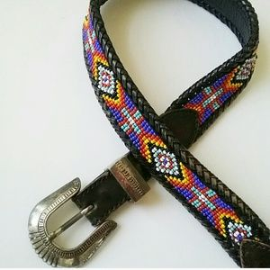 Accessories - Leather Festival Hand Beaded Belt Women's Small